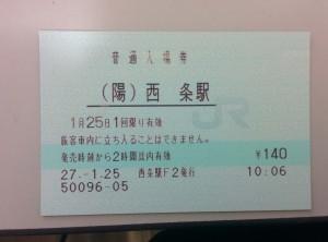 1年前の入場券